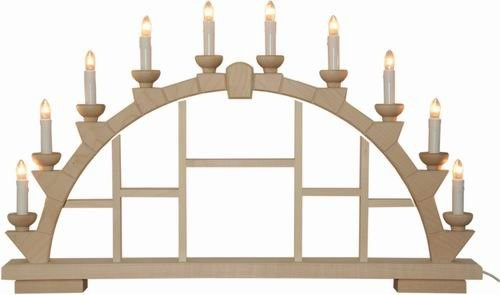 Candle arch wooden nature with 10 electric candles - 64x40 cm