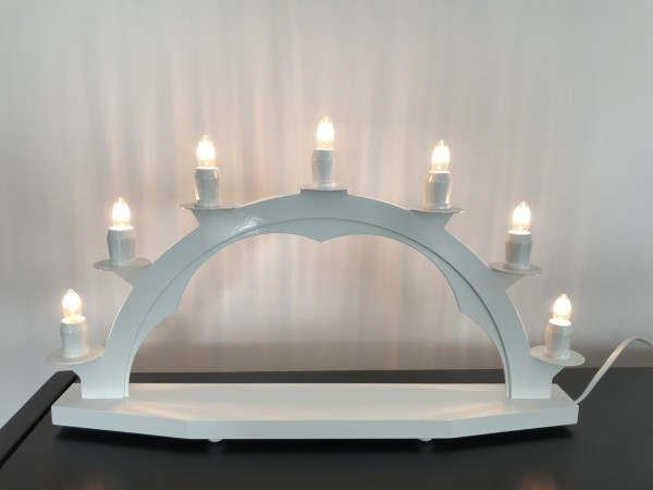 Candle arch wooden WHITE with 7 electric candles - 18.51 inch x 11 inch ( 47 x 28cm)