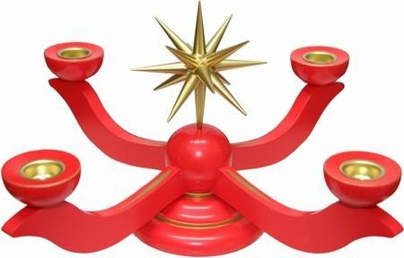 Wooden candlesticks medium-large red - height 17 cm